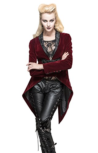 [Steampunk Jacket Burgundy Victorian Gothic Punk Pirate Renaissance Blouse Tailcoat Warm Coats For Women] (Woman Pirate Outfit Ideas)