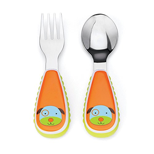 Skip Hop Baby Zoo Little Kid and Toddler Fork and Spoon Utensil Set, Multi Darby - Spoon Dog