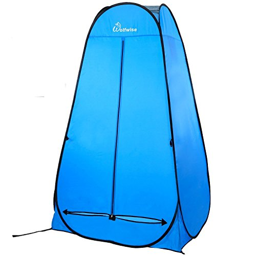WolfWise New Style Shower Tent Privacy Portable Camping Beach Toilet Pop Up Tents Changing Dressing Room Outdoor Backpack Shelter Blue