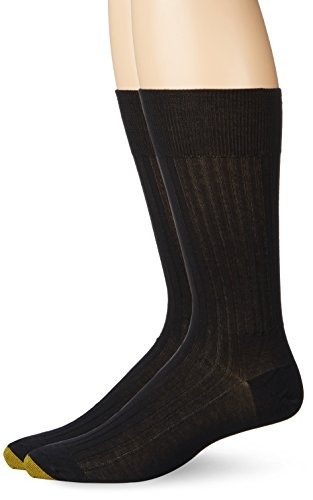 Gold Toe Men's Comfort Top Non-Elastic English Rib Crew 2 Pack S5, Black, 9.5-10 ()