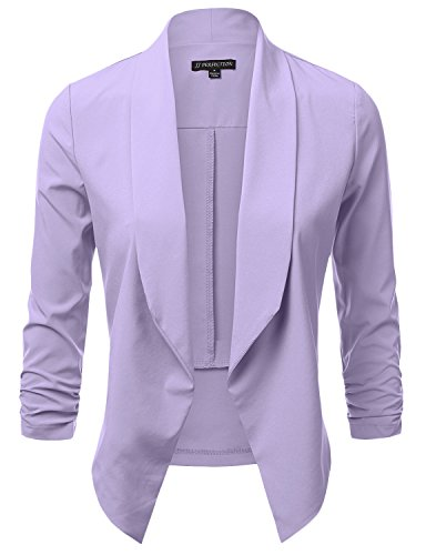 JJ Perfection Women's Lightweight Chiffon Ruched Sleeve Open-Front Blazer Lavender S