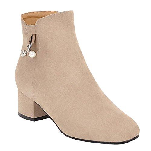Carolbar Women's Chic Mid Heel Beaded Zip Short Boots Beige