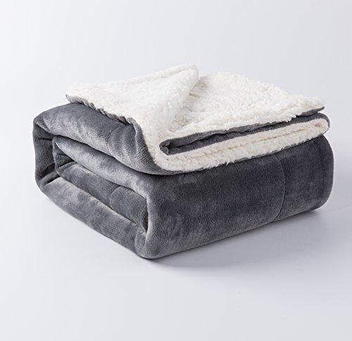 Sherpa Bed Blanket Grey Twin Size 60