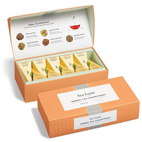 Tea Forté Petite Presentation Box Sampler with 10 Handcrafted Pyramid Tea Infusers - Herbal Tea Assortment