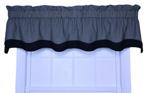 Logan Gingham Check Print Bradford Valance Window Curtain, - Valance Tailored Garden