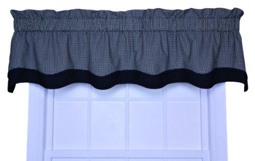 (Logan Gingham Check Print Bradford Valance Window Curtain, Black)