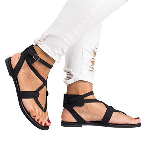 Price comparison product image Han Shi Summer Women Sandals Ladies Bandage Cross Strap Flat Ankle Cusual Shoes (Black, 8.5)
