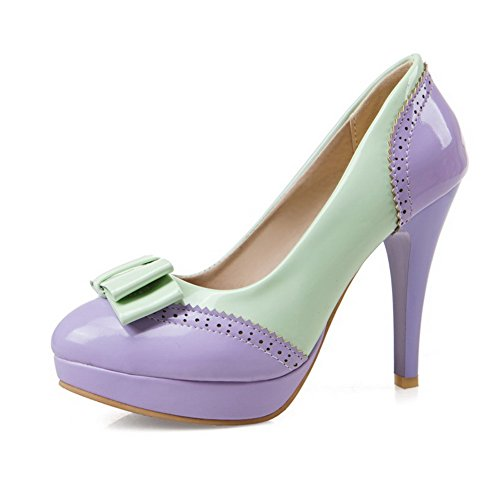 VogueZone009 Women's Assorted Color PU Spikes Stilettos Round Toe Pumps-Shoes Purple mgFNWj7u