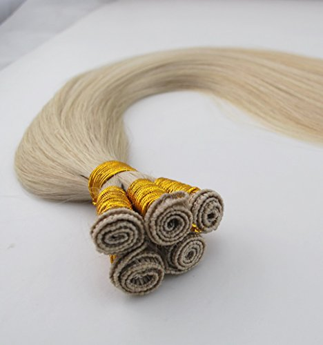 White Blonde Hand Tied Hair Weft Extensions #60 Silky Straight 16inch 100gm 6A ()