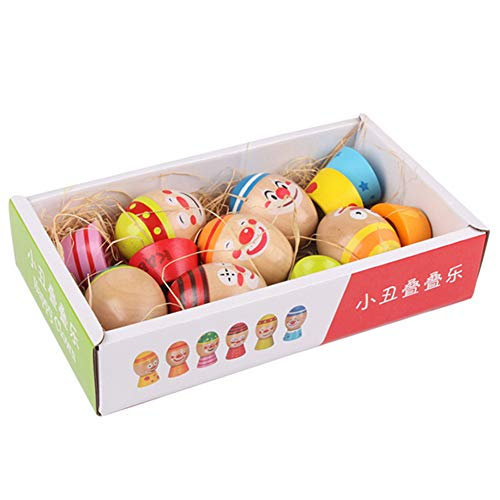 Zconmotarich Clown Wooden Eggs with Base Child Hand Eye Balancing Educational Toy 6Pcs/Set ()