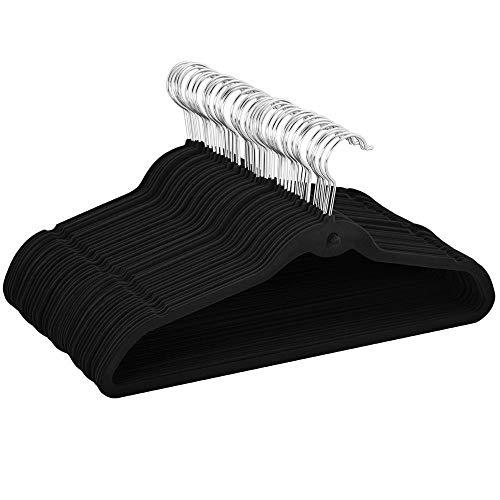 (Yaheetech 100 Pcs Flocked Non Slip Cascading Velvet Hangers Suit/Shirt/Pants/Clothes Tidy 360 Swivel Hook)