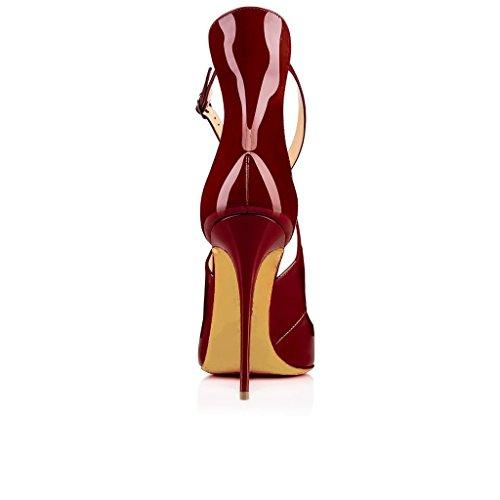 Eldof High Strap Women's Pumps Buckle Height Sandals 10cm Wine Sexy Heels Cross Pumps Heel Pointed Toe 4r541wqgxX