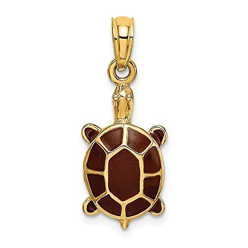 14k Yellow Gold Brown Enamel Tortoise Pendant Charm Necklace Animal Fine Jewelry Gifts For Women For Her (Enamel Tortoise Charm)