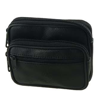 Black Faux Leather Zipper Waist Wallet Belt Bag for Men