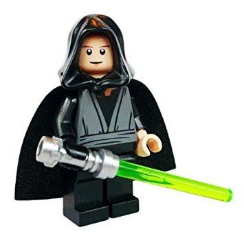 Luke Skywalker Jedi Master (Black Hand), Hood, Cape and Lightsaber - Lego Star Wars Minifigure