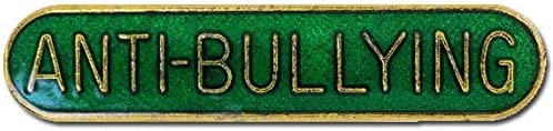 1000 Flags Anti-Bullying Pin Badge for High School or College in Green Enamel with Rounded Edge