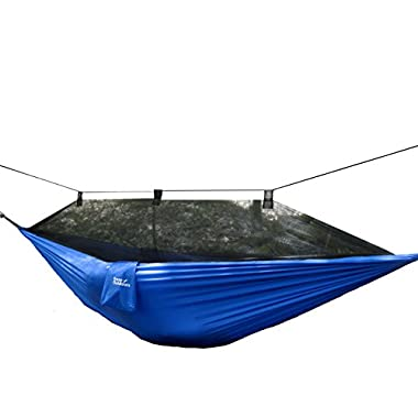 Krazy Outdoors® Mosquito Net Hammock - Extra Strong Parachute Nylon - Reversible, Durable, Compact & Lightweight Camping Hammock (Blue)
