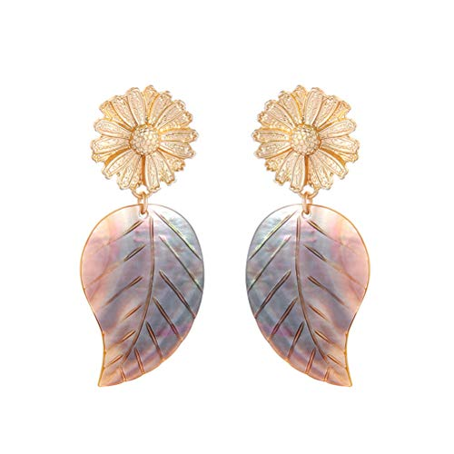 BUUEERR Flower Shape Shell Pendant Design Earrings Rhinestone Dangle Earrings Vintage Drop Earrings for Daily Wearing, Wedding, Date, Prom or Vacation ()