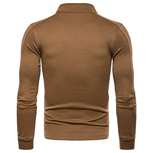 NEEDRA Stand Zipper Winter Casual Solid Long Top Blouse Brown Men's Sleeve Jacket Autumn 4Oq4r