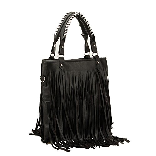 Bag Signature Bucket Over - Top Shop Womens Tassels Leather Shoulder Handbags Casual Totes Messenger Bag Hobos Black Satchels