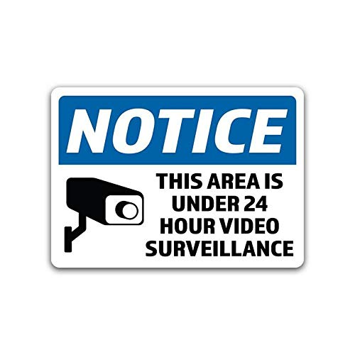 2-Pack Notice 24 Hour Video Surveillance Vinyl Decal Sticker 7-Inch by 5-Inch Premium Quality Vinyl Decal Laminated with UV Protective Laminate ()