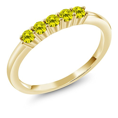 Gem Stone King 0.33 Ct Round Canary Diamond 18K Yellow Gold Plated Silver 5 Stone Anniversary Wedding Band (Size 5)