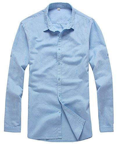 (utcoco Men's Essential Collared Long Sleeve Hemp Button Up Casual Shirts (X-Small, Blue))