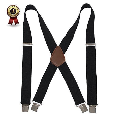 "Men' s X Back Suspenders with 4 Quality Controlled Clips & 1.4"" Wide Braces & Heavy Duty"