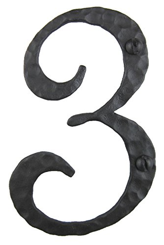 (Spanish Rustic Hammered Wrought Iron Address Number 4 inch 3)