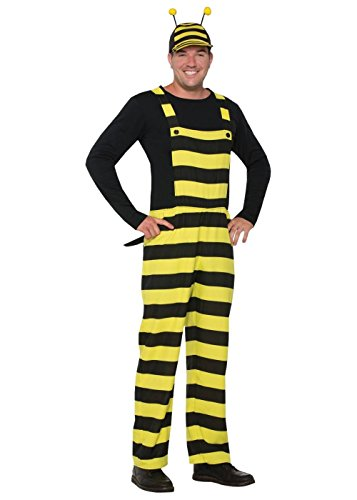 Forum Women's Worker Bee Stripped Overalls and Hat Costume, Black/Yellow, (Adult Bee Keeper Costume)