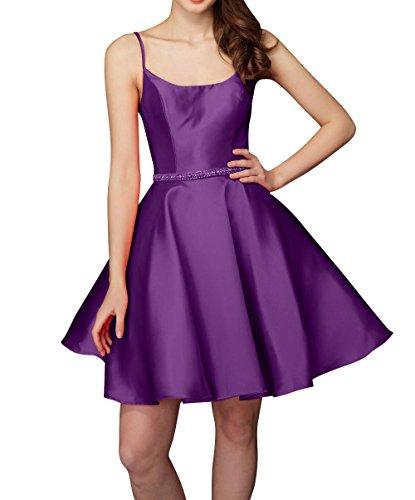 Spaghetti Brau Traeger Satin mia Kurzes Tanzenkleider La Kleider Cocktailkleider Partykleider Violett Mini Heimkehr Abendkleider 5qgEawwc