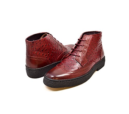 British Collection Burgundy Ostrich and Leather Wingtip High Top -