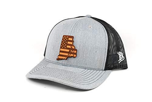 Branded Bills 'Rhode Island Patriot' Leather Patch Hat Curved Trucker- OSFA/Heather Grey/Black ()