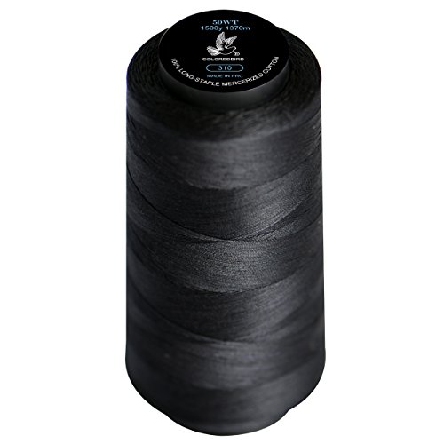 Popular Black 50WTCotton Thread 100% Extra-Long Staple Cotton Sewing Thread Spool,50/3Hand Quilting Sewing Essential Cone Thread Set for Serger Overlock Merrow Single Needle Machine Embroidery(310)