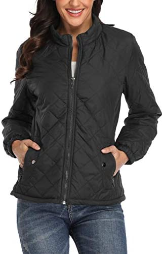 PEIQI Women's Quilted Jacket Coat Outwear Puffer Zip-up Stand Collar Padded Jacket with Pockets