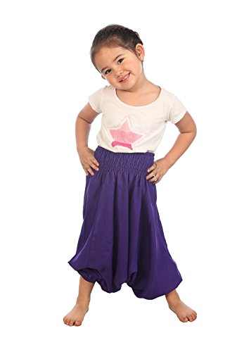 Lofbaz Kids Harem Plain Color Child Aladdin Pants Boho Hippy White Size 12/13Y (Aladdin Harem)
