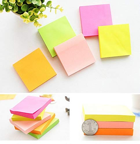 Post Its Notes Pop Ups 100Pages Soild Color Memo Pad Post-its Notes Self Stick Notes Supplies Favorite Record for Checklist Remark Issue Spot Mention Letter Sticky (Yellow,Rose,Green,Orange,Pink)