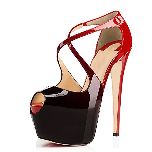 Women Peep Toe Cross Over Strap Pumps - 1 1/2 inches Hidden Platform Sandals - 6 inches Covered Stiletto High Heels (7, Red to Black)