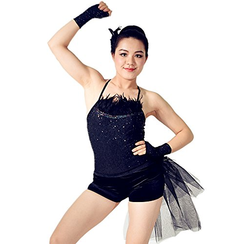 [MiDee Black Swan Feather Neckline Jazz Dance Outfits With Back Side Suttle Velvet Shorts (LA,] (Black Swan Costume Ballet)