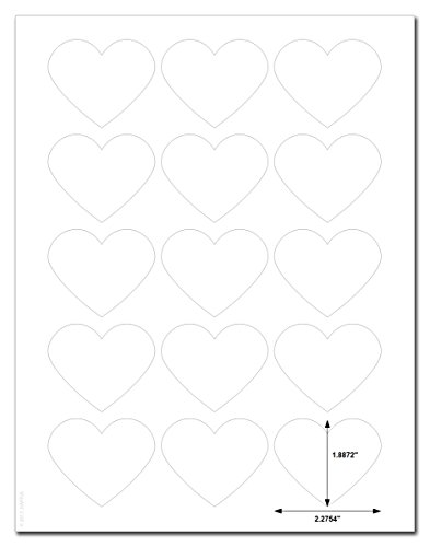 (Waterproof White Matte Heart Shaped Labels, 2.2 x 1.8 inches, for Laser Printers with Downloadable Template and Printing Instructions, 5 Sheets, 75 Labels (HRT2))