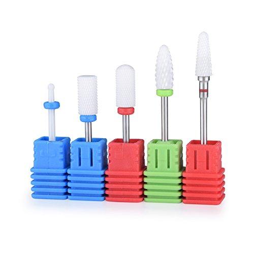 CUMIZON Ceramic Nail Drill Bits Set Pro Coarse Medium Fine Grit Manicure Drill Bits(5 pcs)