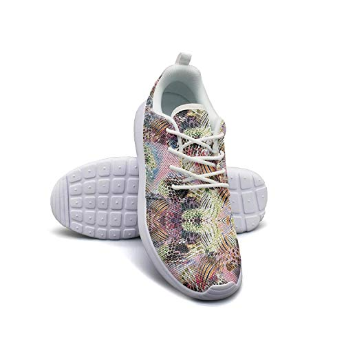 (Designer Sneaker Leopard Cheetah Print Kaleidoscope Yellow Purple Walking Shoes for Young Men Shock Absorbent Running Shoes Non-Slip)
