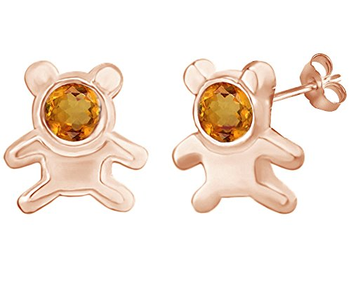 Ring 14k Bear Teddy (Mothers Gift Simulated Citrine Cute Teddy Bear Stud Earrings 14K Rose Gold Over Sterling Silver)