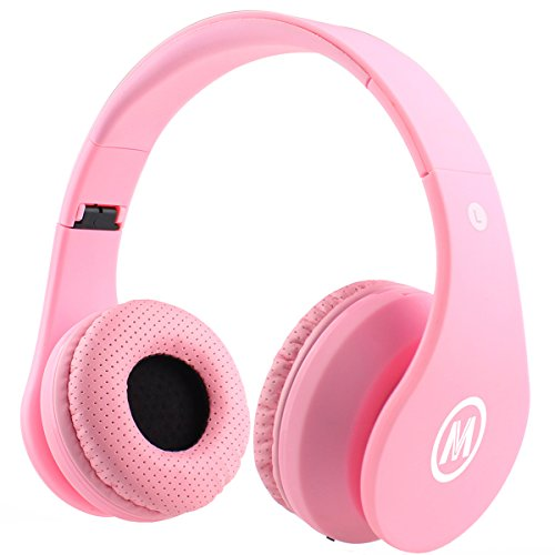 Mokata Kids Headphone Bluetooth Wireless Over Ear Foldable Stereo Sound Headset with AUX 3.5mm Jack Cord SD Card Slot, Built-in Mic Microphone For Boys Girls Cellphone TV PC Game Equipment B01 Pink