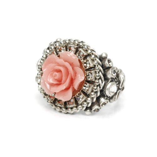 Sweet Romance Carved Rose Ring (Coral) (Flower Carved Coral Rose)