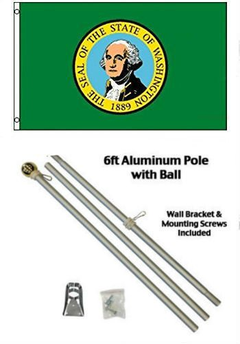 ALBATROS 2 ft x 3 ft 2x3 State of Washington Flag Aluminum Pole Kit Gold Ball Top for Home and Parades, Official Party, All Weather Indoors Outdoors]()