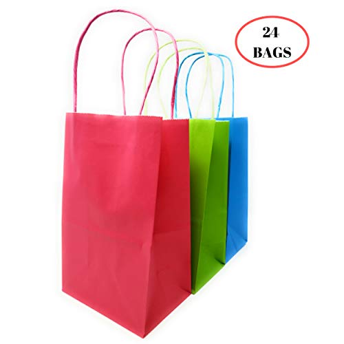 """Kelkaa Party Kraft Paper Bags – 24pcs 5.25X3.5X8.5"""" Gift Bags with Handles for Birthday, Wedding Party Favors, Bachelorette Party, Paper Tote Bags, Party Themes - Small Assorted Neon Red, Blue, Green"""