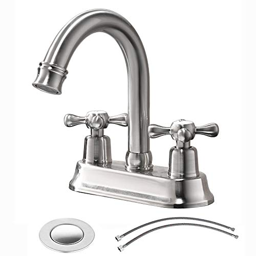 VAPSINT Commercial Two Handles Stainless Steel Centerset Lavatory Vanity Brushed Nickel Bathroom Faucet,Bathroom Faucet Include Water Hose And Pop Up Drain