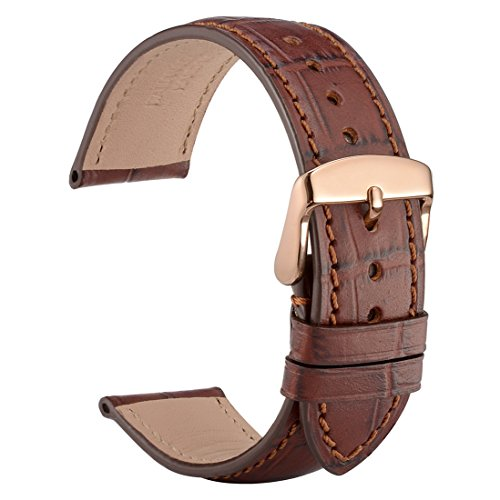 WOCCI 19mm Alligator Embossed Leather Watch Band with Rose Gold Buckle,Replacement Strap(Brown with Tone on Tone (Gold Alligator)