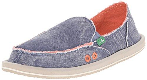 Sanuk Women's Donna Distressed Flat, Slate Blue, 7 M US (Donna Womens Shoes)